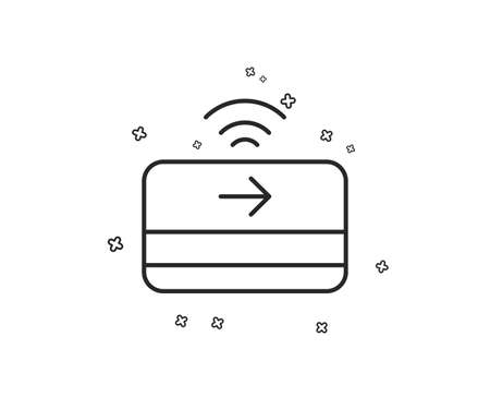 Contactless payment line icon. Credit card sign. Finance symbol. Geometric shapes. Random cross elements. Linear Contactless payment icon design. Vector Illustration