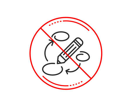 No or stop sign. Keywords line icon. Pencil symbol. Marketing strategy sign. Caution prohibited ban stop symbol. No  icon design.  Vector
