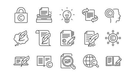 Copywriting line icons. Copyright, Typewriter and Feedback. Legal content linear icon set.  Vector Çizim