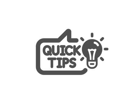 Quick tips icon. Helpful tricks sign. Tutorials with idea symbol. Quality design element. Classic style icon. Vector Illustration