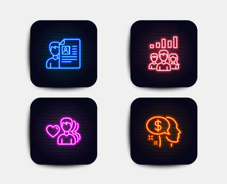 Neon glow lights. Set of Job interview, Teamwork results and Man love icons. Pay sign. Cv file, Group work, Romantic people. Beggar.  Neon icons. Glowing light banners. Vector Illustration