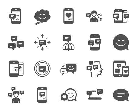 Message sms and Communication icons. Group chat, Conversation and Speech bubbles icons. SMS communication, Phone chat and Stop talking symbols. Conversation group, smartphone message, info. Vector