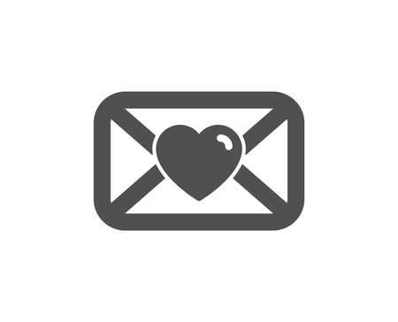 Valentines day mail icon. Love letter symbol. Heart sign. Quality design element. Classic style icon. Vector