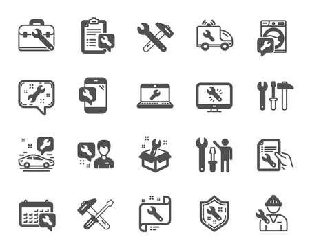 Reparación de iconos de servicio de coche. Conjunto de iconos de herramientas de martillo, destornillador y llave. Recuperación, reparación de lavadoras, servicio de coche. Herramienta de ingeniero, soporte técnico. Equipo de llave, destornillador. Vector