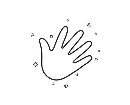 Hand wave line icon. Palm sign. Geometric shapes. Random cross elements. Linear Hand icon design. Vector Illustration