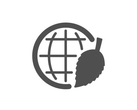 Globe with leaf icon. World sign. Environment day symbol. Quality design element. Classic style icon. Vector Иллюстрация