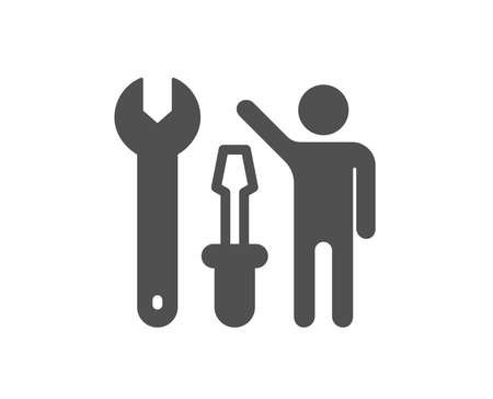 Spanner tool icon. Repairman service sign. Fix instruments symbol. Quality design element. Classic style icon. Vector Illustration