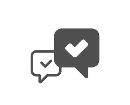 Approve icon. Accepted or confirmed sign. Speech bubble symbol. Quality design element. Classic style icon. Vector Illustration