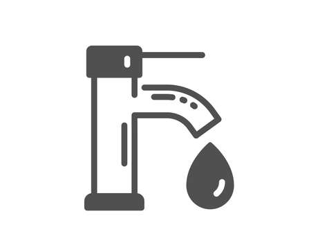 Tap water icon. Faucet with aqua drop sign. Sanitary engineering symbol. Quality design element. Classic style icon. Vector