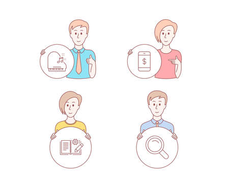 People hand drawn style. Set of Engineering documentation, Piano and Smartphone payment icons. Search sign. Manual, Fortepiano, Mobile pay. Magnifying glass.  Character hold circle button. Vector