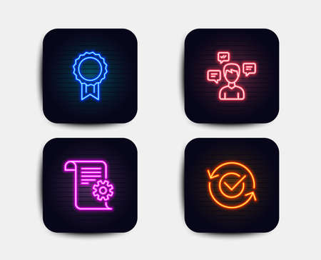 Neon glow lights. Set of Technical documentation, Conversation messages and Reward icons. Approved sign. Manual, Communication, Best medal. Refresh symbol.  Neon icons. Glowing light banners. Vector