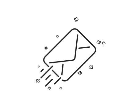 Mail delivery line icon. Message correspondence sign. E-mail symbol. Geometric shapes. Random cross elements. Linear E-mail icon design. Vector Illustration