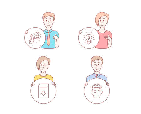 People hand drawn style. Set of Startup, Inspiration and Download file icons. Ship sign. Developer, Creativity, Load document. Shipping watercraft.  Character hold circle button. Man with like hand