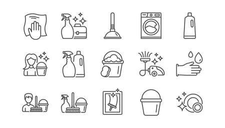 Cleaning line icons. Laundry, Window sponge and Vacuum cleaner. Washing machine linear icon set.  Vector Stockfoto - 115602798
