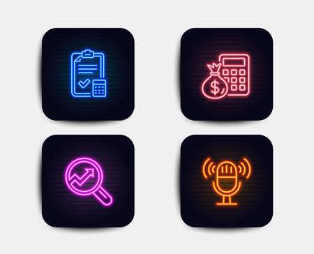Neon glow lights. Set of Accounting checklist, Analytics and Finance calculator icons. Microphone sign. Calculator, Audit analysis, Calculate money. Mic.  Neon icons. Glowing light banners. Vector