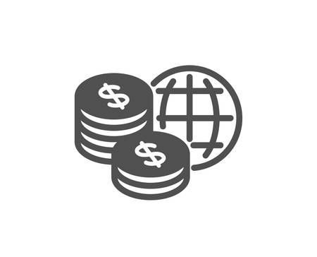 World money icon. Global markets sign. Internet payments symbol. Quality design element. Classic style icon. Vector