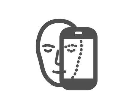 Face biometrics icon. Facial recognition by phone sign. Head scanning symbol. Quality design element. Classic style icon. Vector Illustration