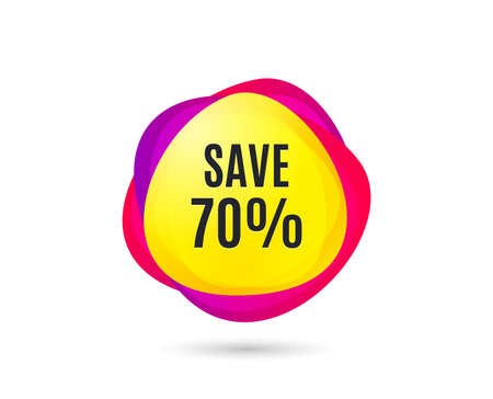 Save 70% off. Sale Discount offer price sign. Special offer symbol. Gradient sales tag. Abstract shopping banner. Template for design. Vector Banque d'images - 125986033