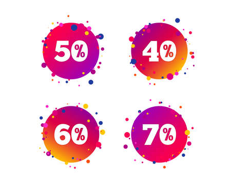 Sale discount icons. Special offer price signs. 40, 50, 60 and 70 percent off reduction symbols. Gradient circle buttons with icons. Random dots design. Vector