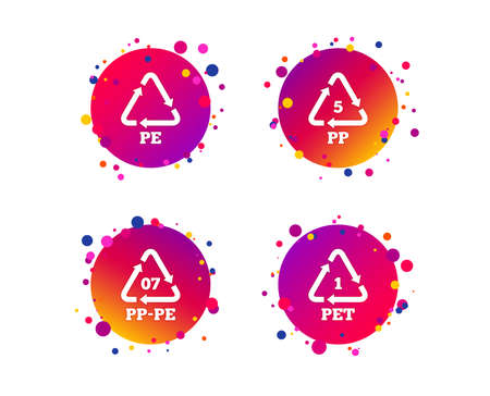 PET 1, PP-pe 07, PP 5 and PE icons. High-density Polyethylene terephthalate sign. Recycling symbol. Gradient circle buttons with icons. Random dots design. Vector Çizim