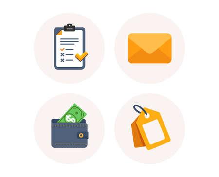 Ensemble d'icônes de message électronique, de liste de contrôle et de portefeuille. Signe d'étiquette de remise. Enveloppe de la newsletter, document d'accord, argent en dollars. Bon d'achat. Icônes colorées en boutons ronds. Vecteur