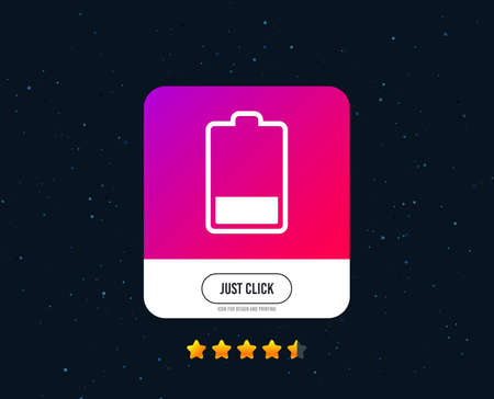 Battery low level sign icon. Electricity symbol. Web or internet icon design. Rating stars. Just click button. Vector