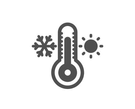 Thermometer-Symbol. Kaltes und warmes Thermostatzeichen. Winter, Sommersymbol. Schneeflocke und Sonne. Hochwertiges Gestaltungselement. Symbol im klassischen Stil. Vektor Vektorgrafik