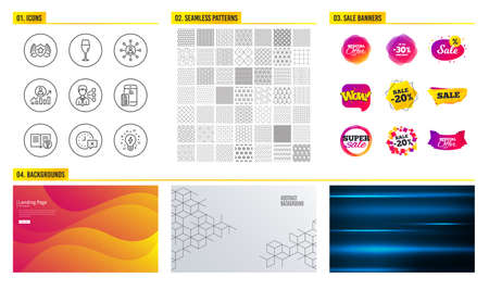 Seamless pattern. Shopping sale banners. Set of Time, Third party and Networking icons. Laureate, Wineglass and Help signs. Career ladder, Contactless payment and Inspiration symbols. Vector
