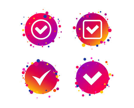 Check icons. Checkbox confirm circle sign symbols. Gradient circle buttons with icons. Random dots design. Vector Çizim