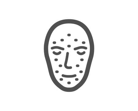 Face biometrics icon. Facial recognition sign. Head scanning symbol. Quality design element. Classic style icon. Vector Ilustracja