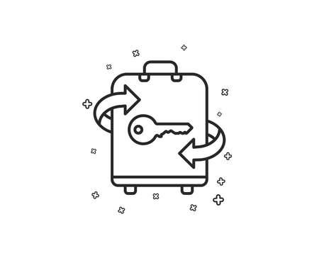 Luggage room line icon. Baggage Locker sign. Travel service symbol. Geometric shapes. Random cross elements. Linear Luggage icon design. Vector 向量圖像