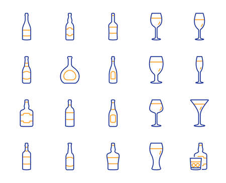 Wine bottle line icons. Set of Craft beer, Whiskey and Wine glass icons. Champagne bottle, Alcohol drink and Scotch with ice. Wineglass, Beer glass and Restaurant goblet signs. Beverage drink. Vector