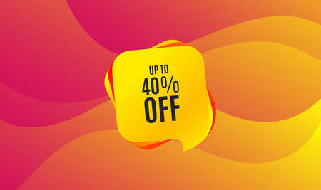 Up to 40% off Sale. Discount offer price sign. Special offer symbol. Save 40 percentages. Wave background. Abstract shopping banner. Template for design. Vector Ilustração