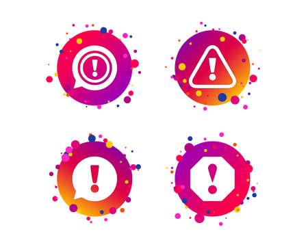 Iconos de atención. Símbolos de burbujas de discurso de exclamación. Señales de precaución. Botones de círculo degradado con iconos. Diseño de puntos aleatorios. Vector