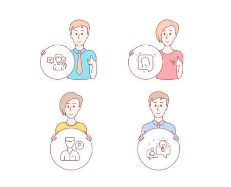 People hand drawn style. Set of People, Valet servant and Head icons. Idea sign. Support job, Parking man, Profile messages. Solution.  Character hold circle button. Man with like hand. Vector