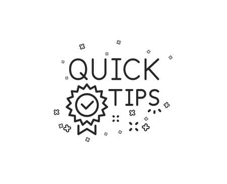Quick tips line icon. Helpful tricks sign. Tutorials with award medal symbol. Geometric shapes. Random cross elements. Linear Quick tips icon design. Vector Banque d'images - 115552214