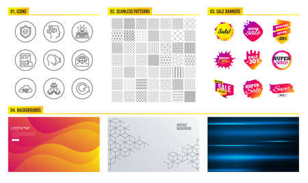 Seamless pattern. Shopping mall banners. Set of Ship, Internet report and Typewriter icons. Face id, Web mail and Approved shield signs. Quick tips, Messages and Reload symbols. Vector Ilustração