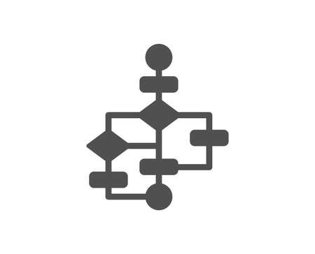 Block diagram icon. Path scheme sign. Algorithm symbol. Quality design element. Classic style icon. Vector