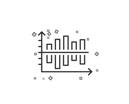Diagram chart line icon. Column graph sign. Market analytics symbol. Geometric shapes. Random cross elements. Linear Diagram chart icon design. Vector