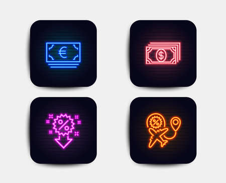 Neon glow lights. Set of Payment, Discount and Euro currency icons. Flight sale sign. Finance, Sale shopping, Eur banking. Travel discount.  Neon icons. Glowing light banners. Vector