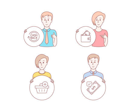 People hand drawn style. Set of Add purchase, Cashback and Wallet icons. Accepted payment sign. Shopping order, Refund commission, Usd cash. Bank transfer.  Character hold circle button. Vector