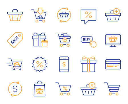 Shopping line icons. Gift box, Present coupon and Sale offer tag signs. Shopping cart, surprise gift and Delivery symbols. Speech bubble, Discount tag coupon , Credit card. Online sale. Vector Illustration