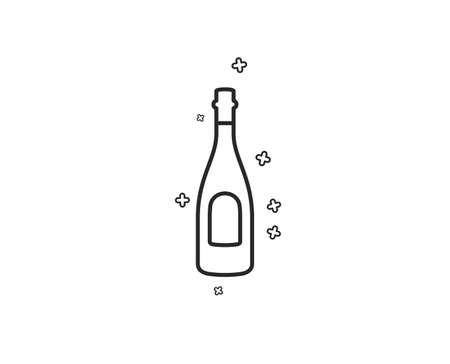 Champagne bottle line icon. Anniversary alcohol sign. Celebration event drink. Geometric shapes. Random cross elements. Linear Champagne icon design. Vector