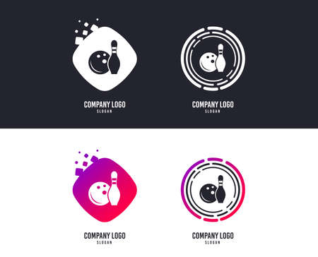 Logotype concept. Bowling game sign icon. Ball with pin skittle symbol. Logo design. Colorful buttons with icons. Vector Illustration
