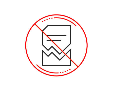 No or stop sign. Corrupted Document line icon. Bad File sign. Paper page concept symbol. Caution prohibited ban stop symbol. No  icon design.  Vector