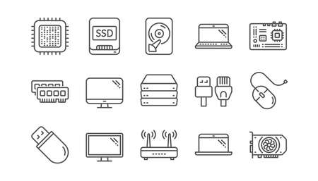 Computer device line icons. Motherboard, CPU and Laptop. SSD memory linear icon set.  Vector