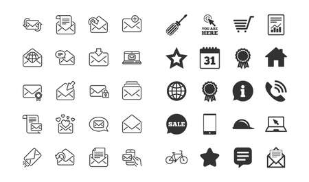 Mail messages line icons. Set of Newsletter, E-mail, Correspondence linear icons. Received mail, Secure message and Web letter symbols. Post office, Send email and Private communication signs. Vector Vector Illustration
