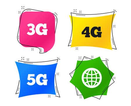 Icônes de télécommunications mobiles. Symboles de la technologie 3G, 4G et 5G. Signe de globe terrestre. Balises géométriques colorées. Bannières avec des icônes plates. Conception à la mode. Vecteur