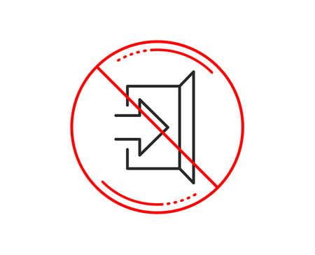 No or stop sign. Exit line icon. Open door sign. Entrance symbol with arrow. Caution prohibited ban stop symbol. No  icon design.  Vector Banque d'images - 115604692