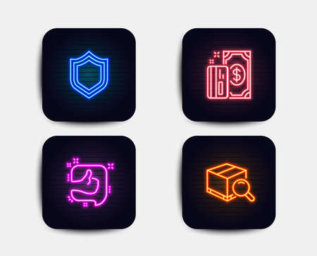 Neon glow lights. Set of Payment, Like and Security icons. Search package sign. Cash money, Thumb up, Protection shield. Tracking service.  Neon icons. Glowing light banners. Vector